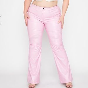 Dolls Kill Pink Faux Leather Flare Pants